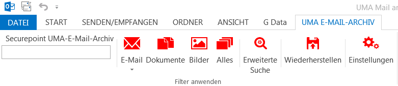 UMA Outlook-Plugin Menü